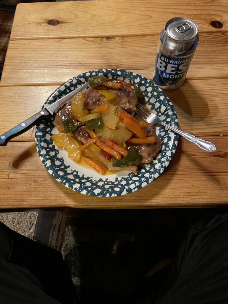 Sweet And Sour Pork With A Beer