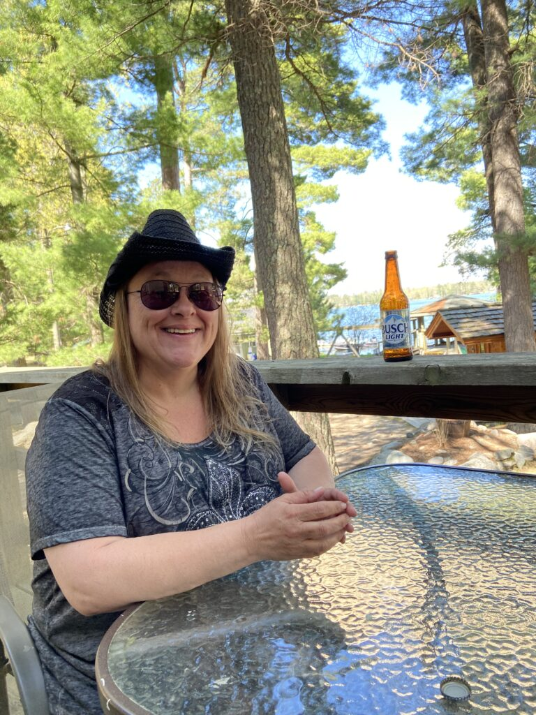 My wife April Weberg just chilling at Broadwater Lodge resort