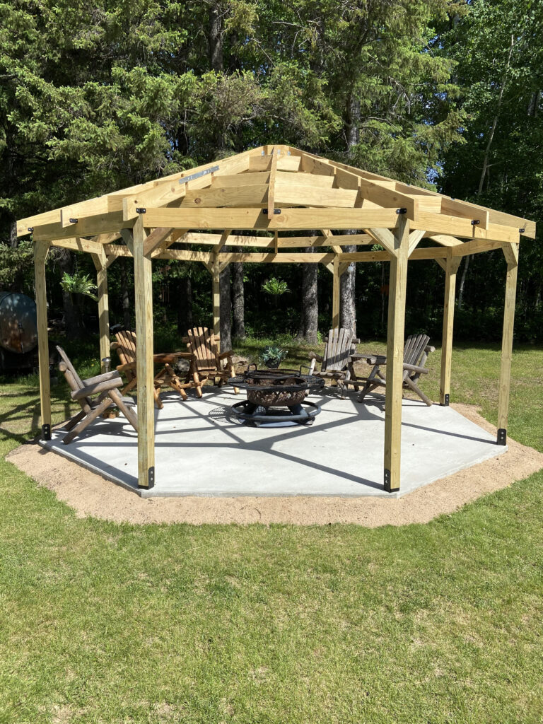 my octagon shaped gazebo building is finished
