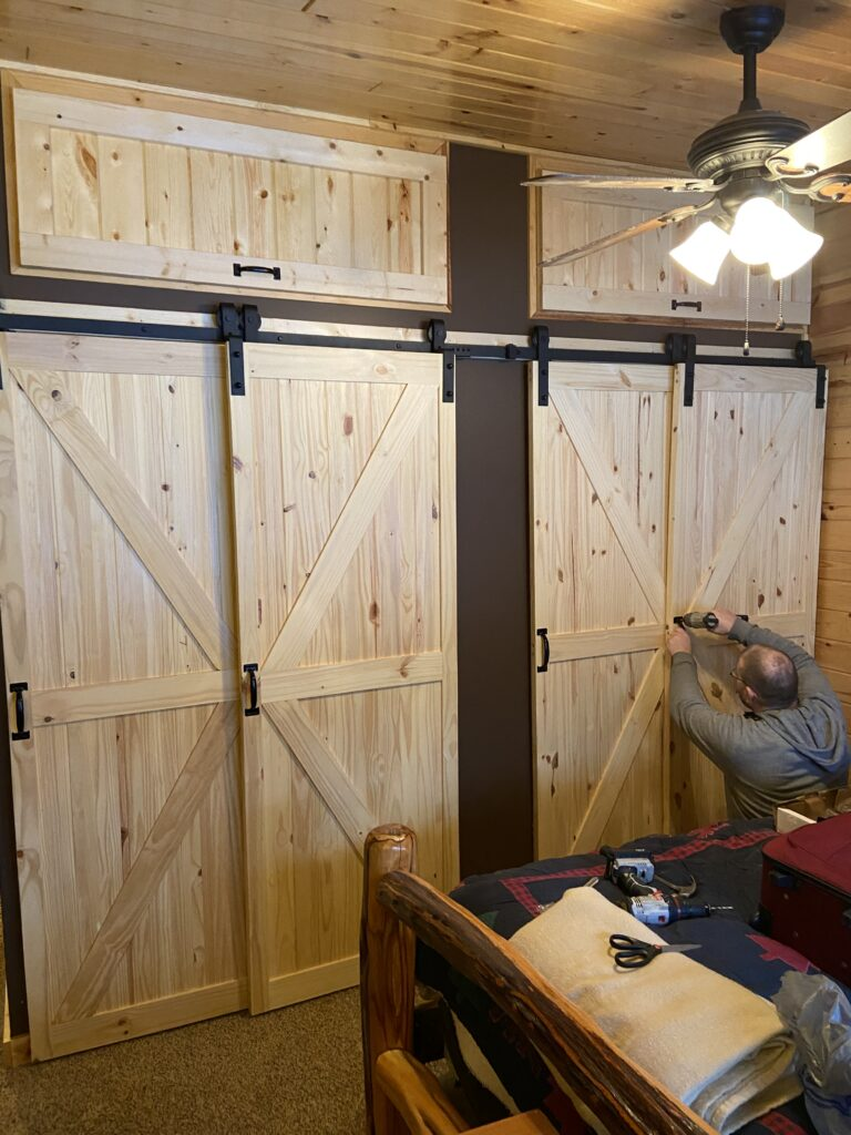 Homacer Black Rustic Single Track Bypass Sliding Barn Door Hardware Kit