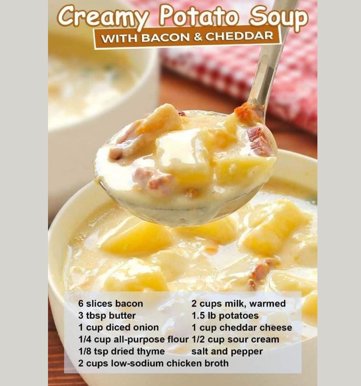 creamy potato soup with bacon & cheddar recipe